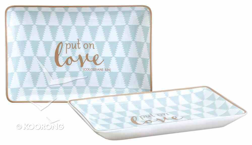 Trinket Dish: Put on Love, Blue/White/Metallic Accents (Col 3:12,14 Niv) Homeware