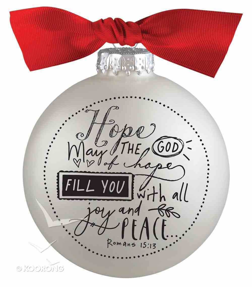 Christmas Glass Bauble Ornament Scripture Ink: Hope, Silver Solid Glass/Non Transparent/Red Ribbon Bow (Romans 15:13) Homeware