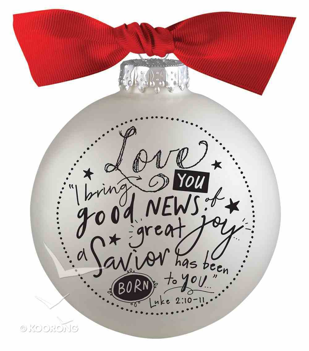 Christmas Glass Bauble Ornament Scripture Ink: Love, Silver Solid Glass/Non Transparent/Red Ribbon Bow (Luke 2:10-11) Homeware