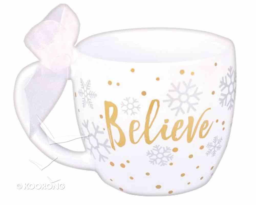 Christmas Season of Joy Ceramic Mug: Believe Gold/White (John 3:16) Homeware