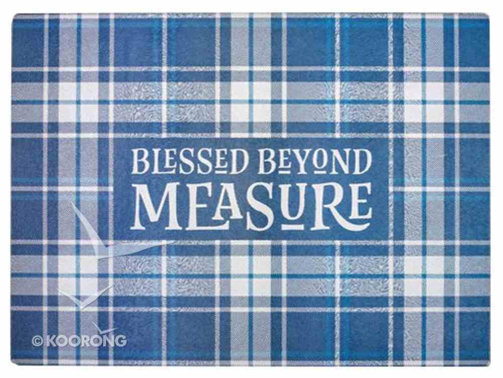 Large Glass Cutting Board: Blessed Beyond Measure, Blue/White Check (Blessed Beyond Measure Collection) Homeware