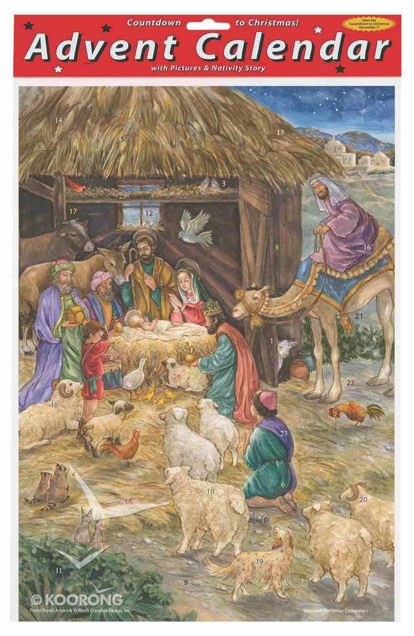 Advent Calendar: Adoration Manger Scene, Glitter, Bible Text on Back of Windows Calendar