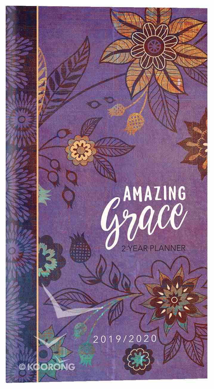 2019/2020 2 Year Pocket Diary/Planner: Amazing Grace (Purple With Orange Flowers) Paperback