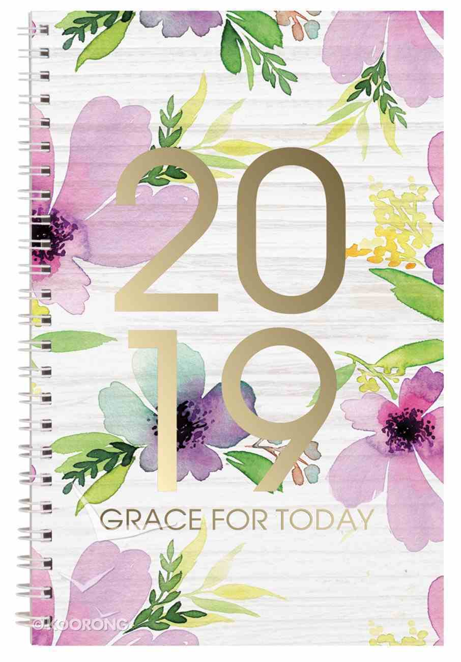 2019 12-Month Daily Diary/Planner: Grace For Today, Floral Spiral