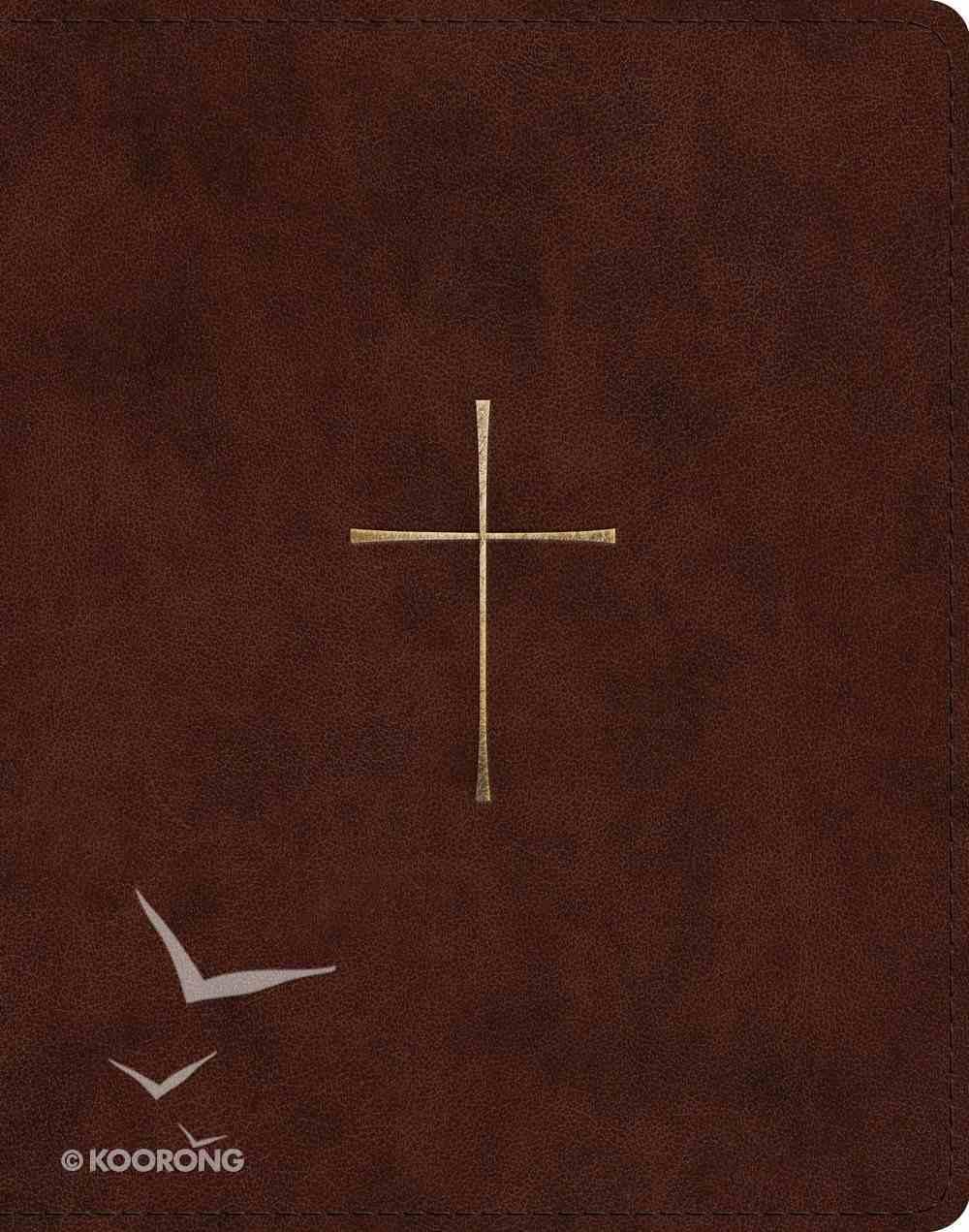 ESV Single Column Journaling Bible Brown Cross Design Imitation Leather