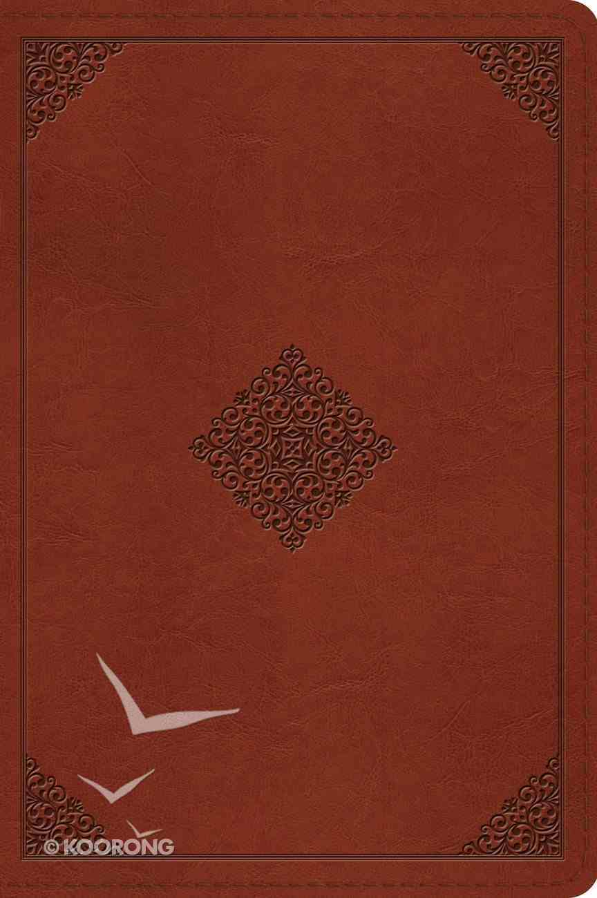 ESV Large Print Bible Tan Ornament Design (Black Letter Edition) Imitation Leather