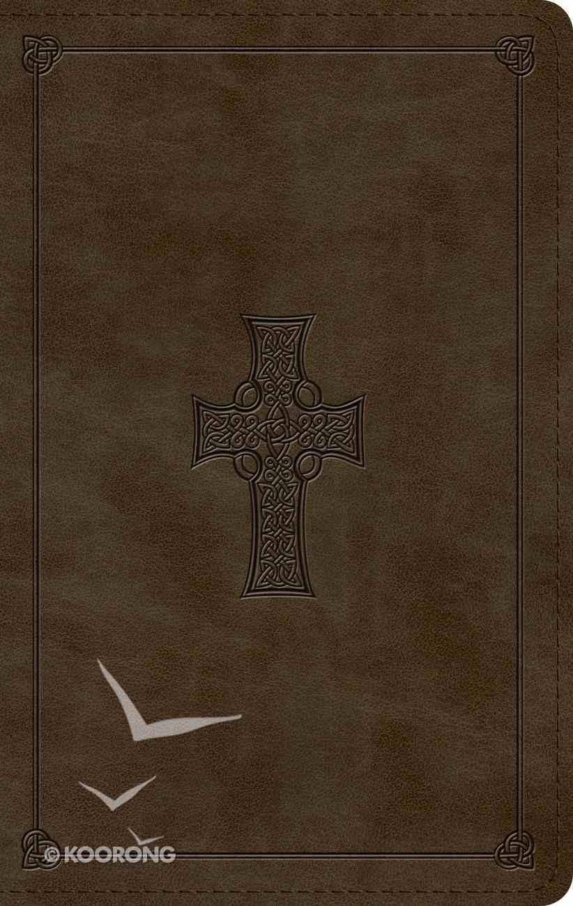 ESV Large Print Personal Size Bible Olive Celtic Cross Design (Red Letter Edition) Imitation Leather