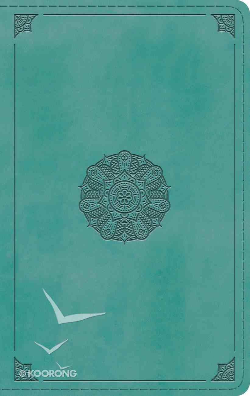 ESV Single Column Thinline Bible Turquoise Emblem Design (Black Letter Edition) Imitation Leather