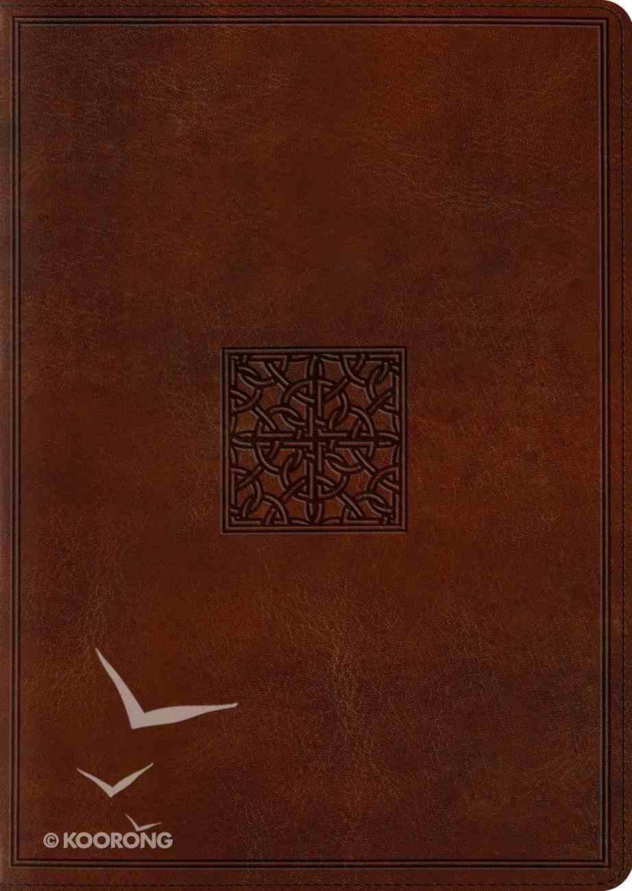 ESV Study Bible Large Print Walnut Celtic Imprint Design (Black Letter Edition) Imitation Leather
