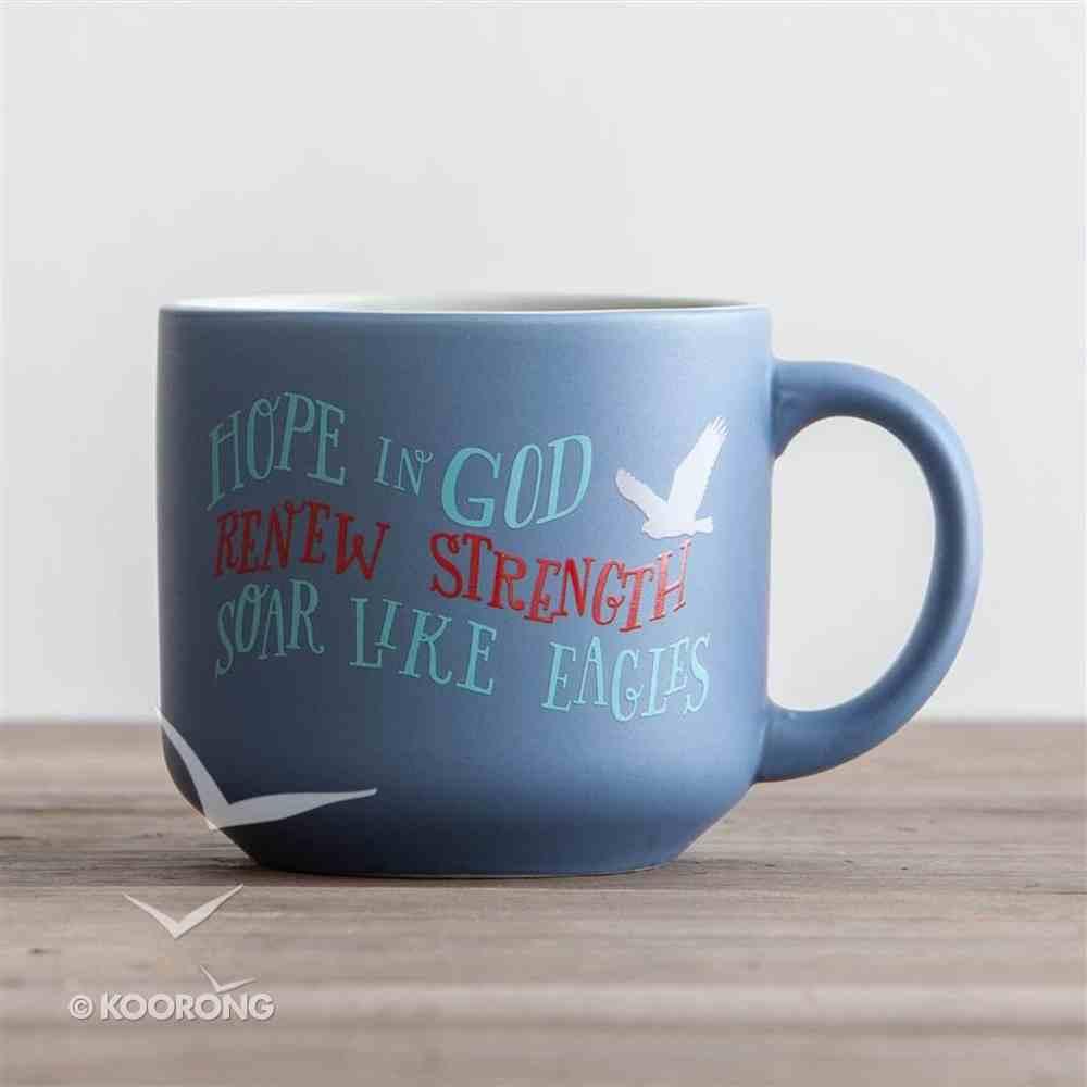 Jumbo Ceramic Mug: Eagle (Isaiah 40:31) (Pale Blue/white Dove) Homeware