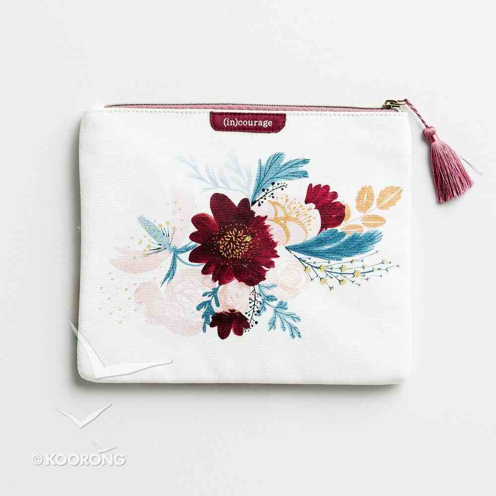 Canvas Flat Pouch: Have Courage, Take Heart White/Floral (Psalm 31:24) ((In)courage Gift Product Series) Soft Goods