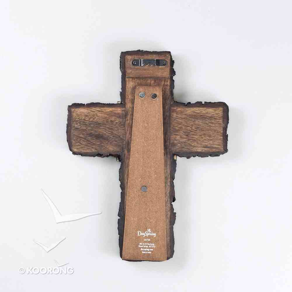 Mango Wood Cross: Blessing With Bronzed-Finish Metal (Number 6:24) Plaque