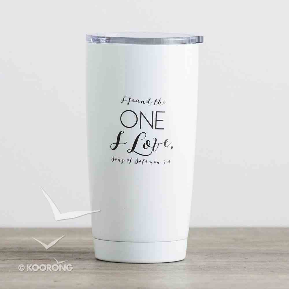 Stainless Steel Tumbler With Lid: Mrs, I Found the One I Love, White With Black Writing Homeware