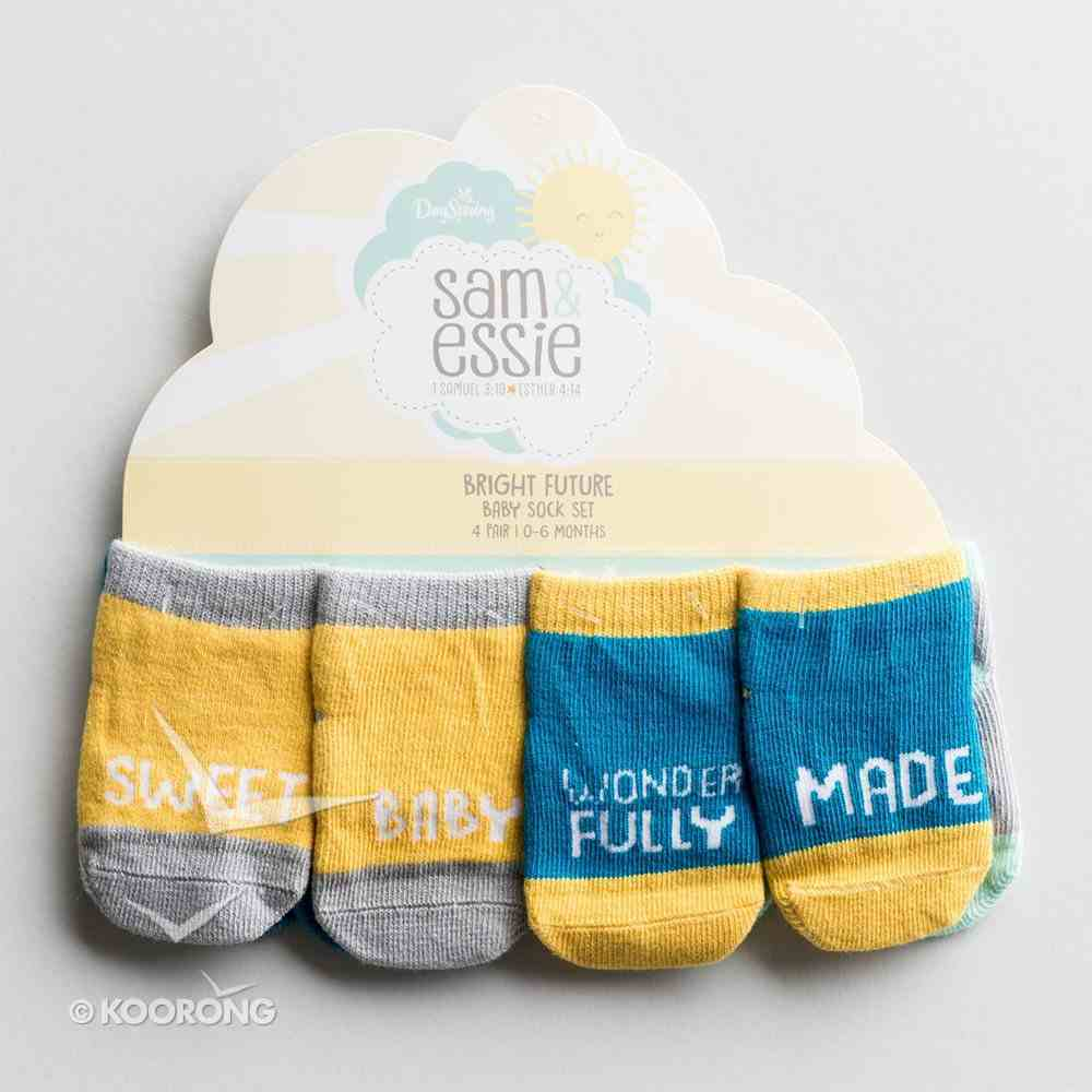 Bright Future Baby Sock Set of 4:0-6 Months, Soooo Loved - Star; Sweet Baby - Sunshine; Jesus Loves Me - Heart; Wonderfully Made - Cloud Soft Goods