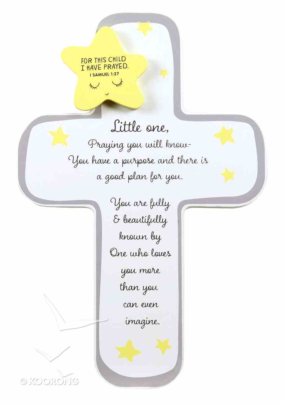 Baby Little One Cross With Star: For This Child I Have Prayed (1 Sam 1:27) Plaque