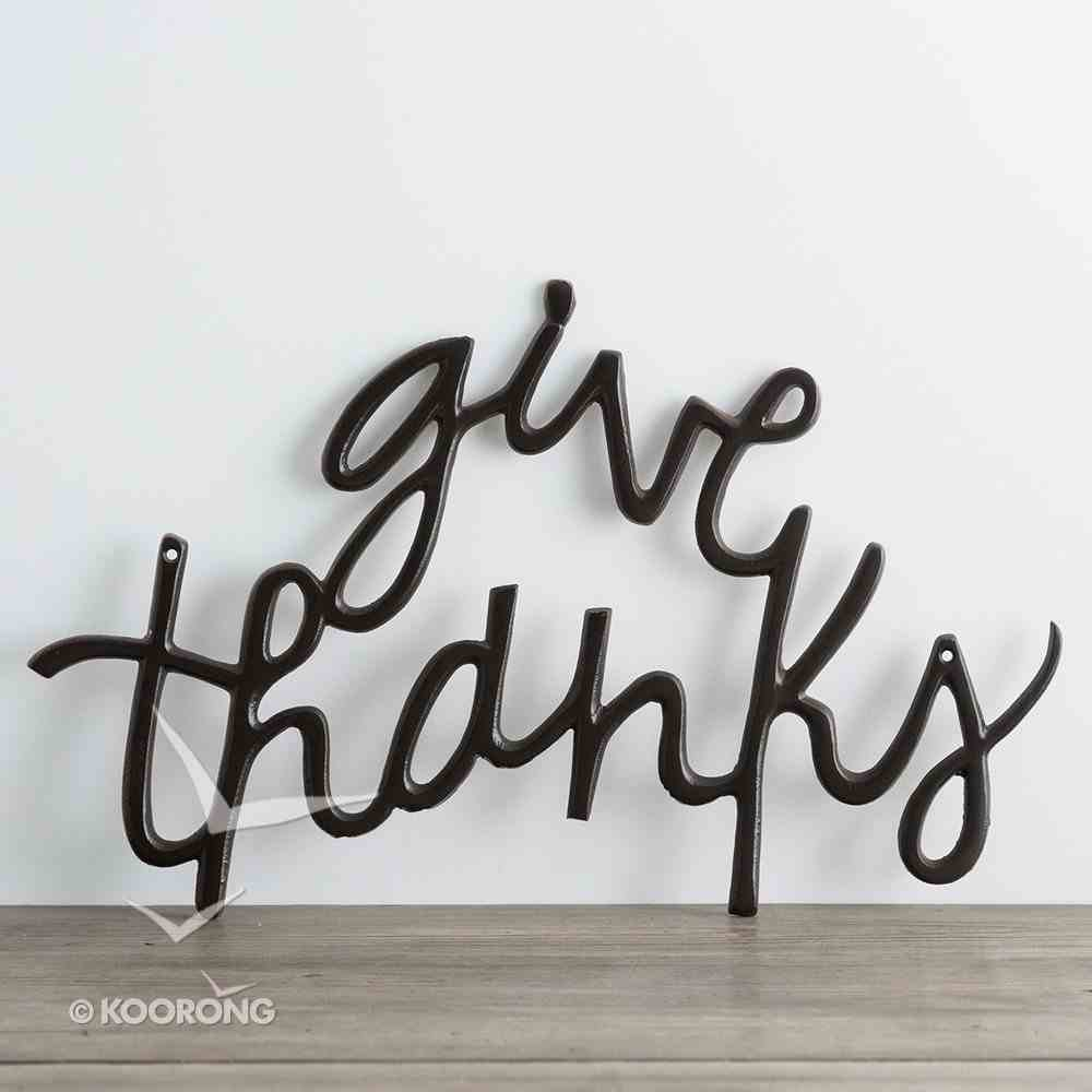 Metal Word Art: Give Thanks, Black Plaque