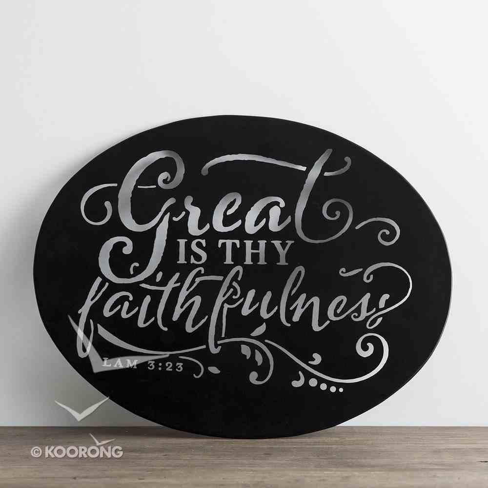 Round Metal Sign: Faithfulness, Chalkboard Look, (Lam 3:23) Plaque
