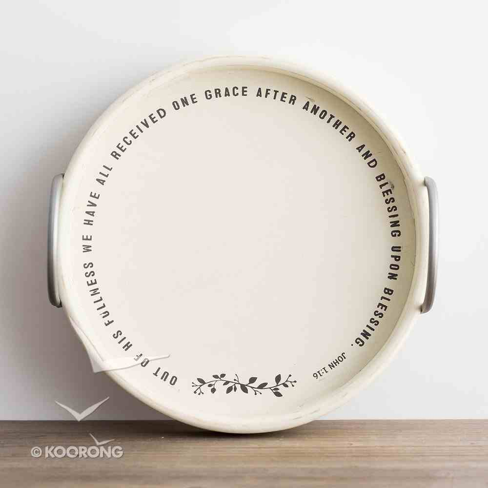 Painted & Distressed Mdf Round Tray With Metal Handles, John 1: 16 Homeware