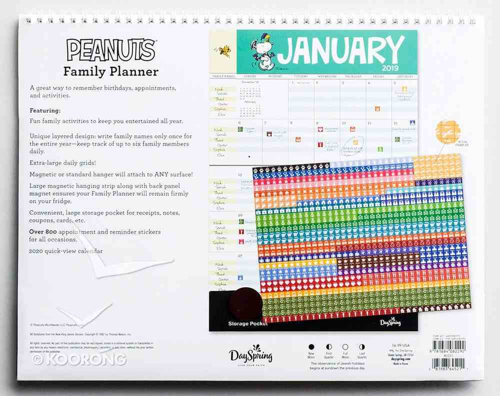2019 16-Month Family Calendar/Planner: Peanuts Calendar