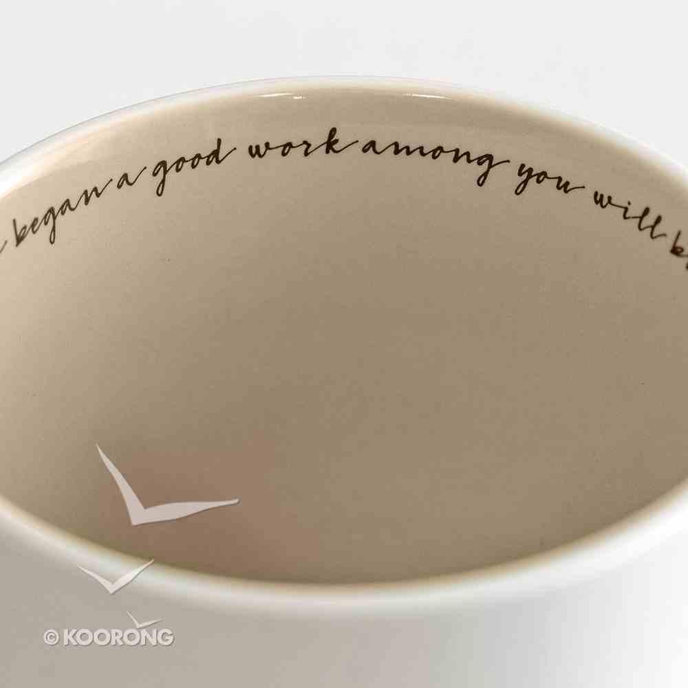Ceramic Textured Mug: Believe, Creamed/Pale Pink (Phil 1:6 Nrsv) Homeware