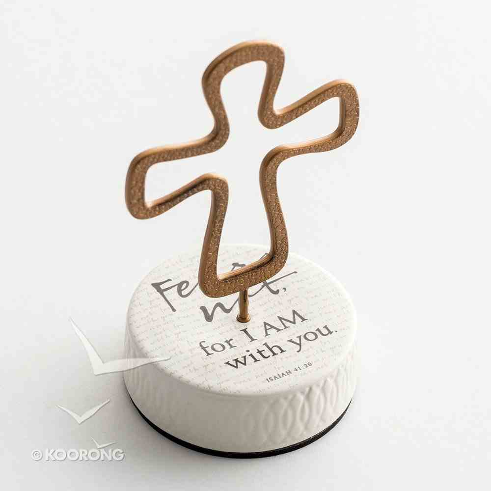 Ceramic Pedestal Cross: Fear Not, For I Am With You, Copper Cross (Isaiah 41:20 Nkjv) Homeware
