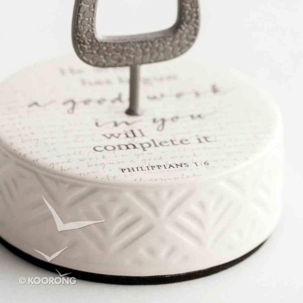 Ceramic Pedestal Cross: He Who Has Begun a Good Work in You..., Pewter Cross (Phil 1:6) Homeware