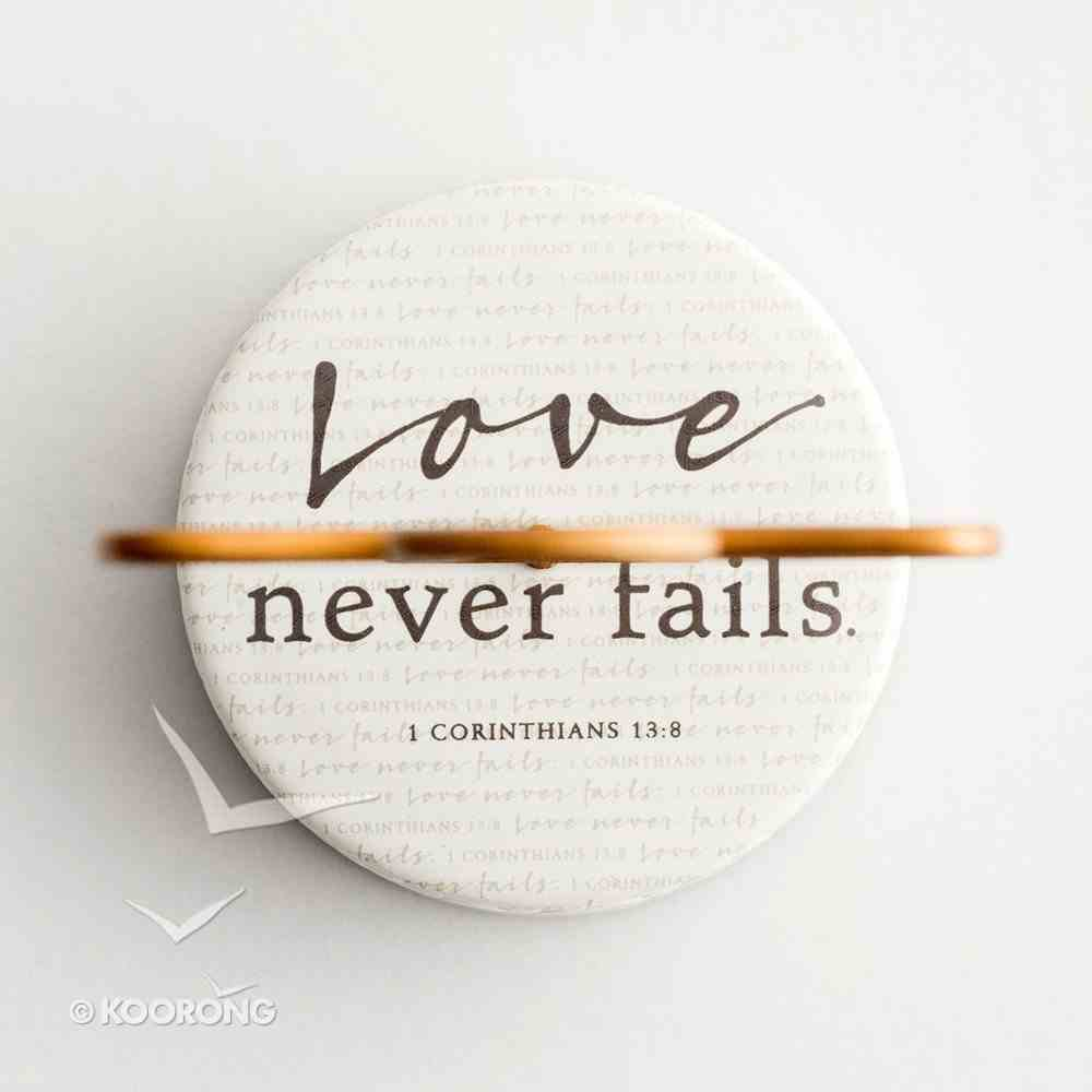 Ceramic Pedestal Cross: Love Never Fails, Copper Cross (1 Cor 13:8) Homeware