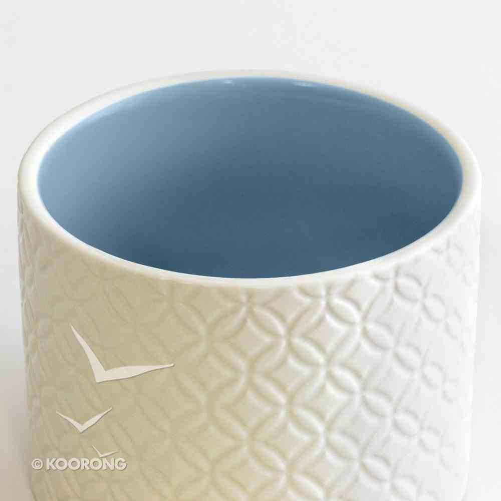 Textured Keepsake Box: Strong in Jesus, Cream Outside/Blue Inside Homeware