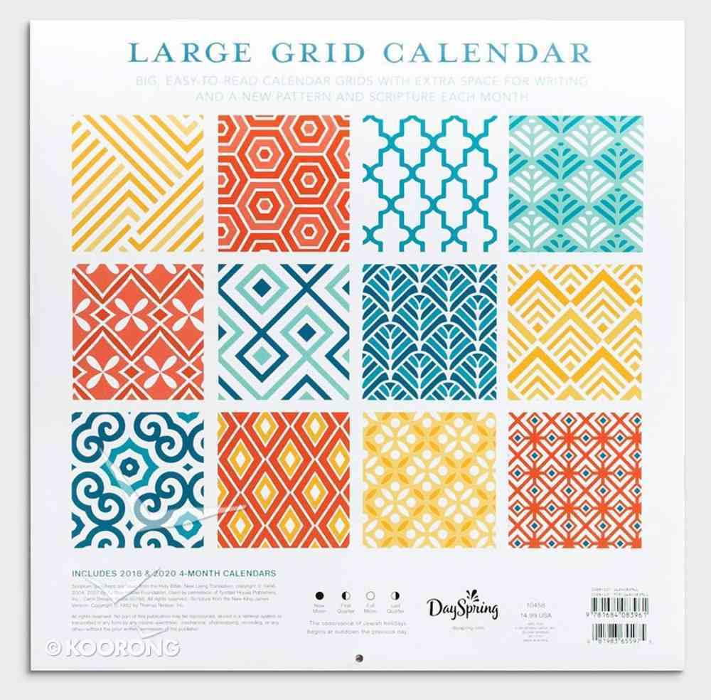 2019 Wall Calendar: Large Grid Patterns Calendar