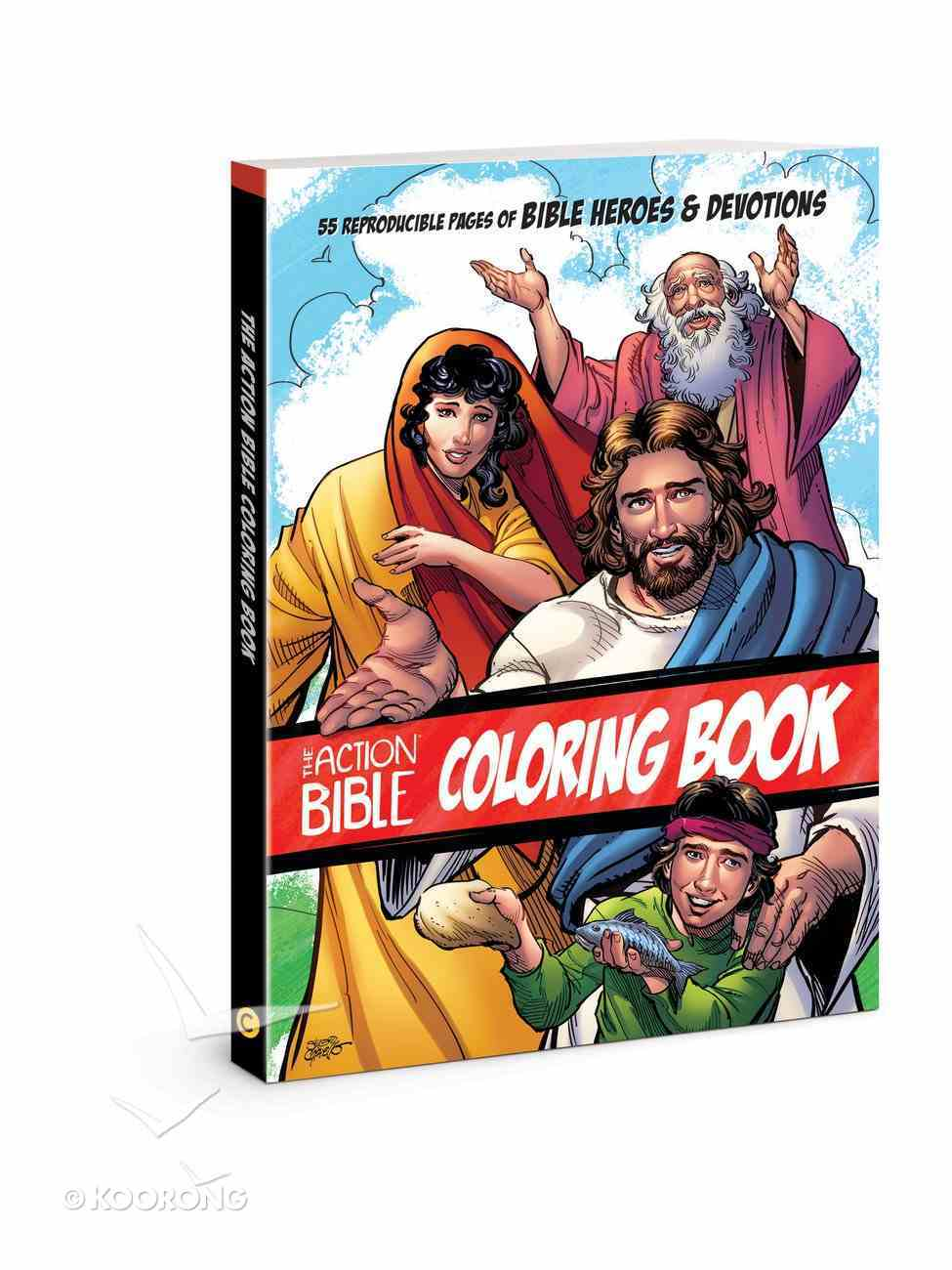 The Action Bible Coloring Book: 55 Reproducible Pages of Bible Heroes and Devotions Paperback