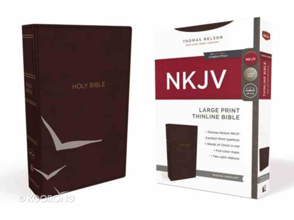 NKJV Thinline Bible Large Print Burgundy (Red Letter Edition) Premium Imitation Leather