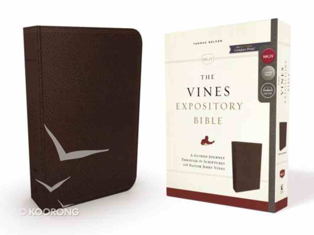 NKJV Vines Expository Bible Brown (Red Letter Edition) Imitation Leather