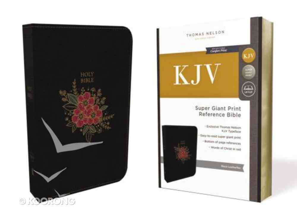 KJV Deluxe Reference Indexed Bible Super Giant Print Black (Red Letter Edition) Premium Imitation Leather