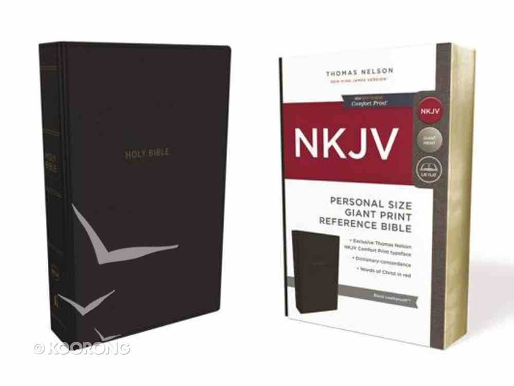 NKJV Reference Bible Personal Size Giant Print Black (Red Letter Edition) Premium Imitation Leather