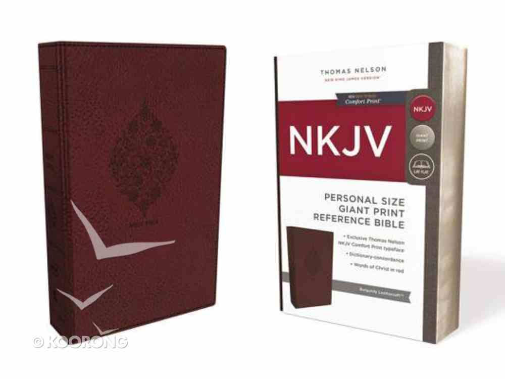 NKJV Reference Bible Personal Size Giant Print Burgundy (Red Letter Edition) Premium Imitation Leather