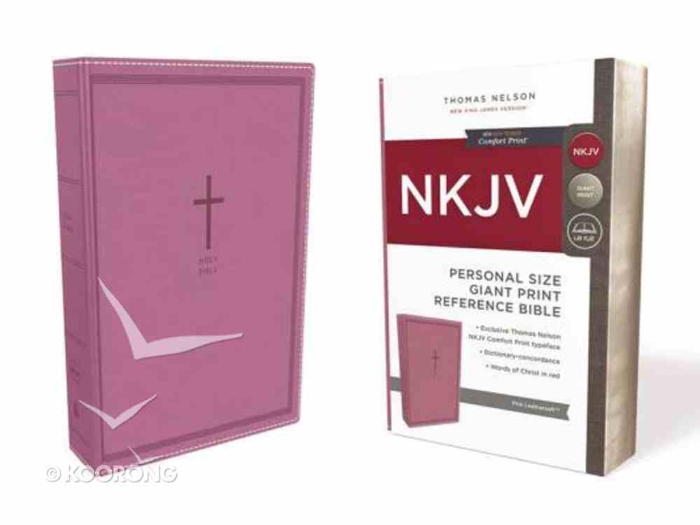 NKJV Reference Bible Personal Size Giant Print Pink (Red Letter Edition) Premium Imitation Leather