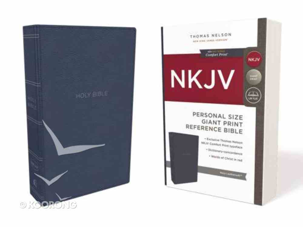 NKJV Reference Bible Personal Size Giant Print Blue (Red Letter Edition) Premium Imitation Leather