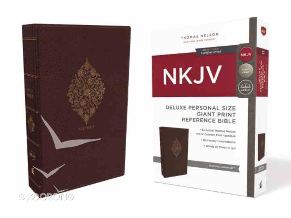NKJV Deluxe Reference Bible Personal Size Giant Print Burgundy Indexed (Red Letter Edition) Premium Imitation Leather