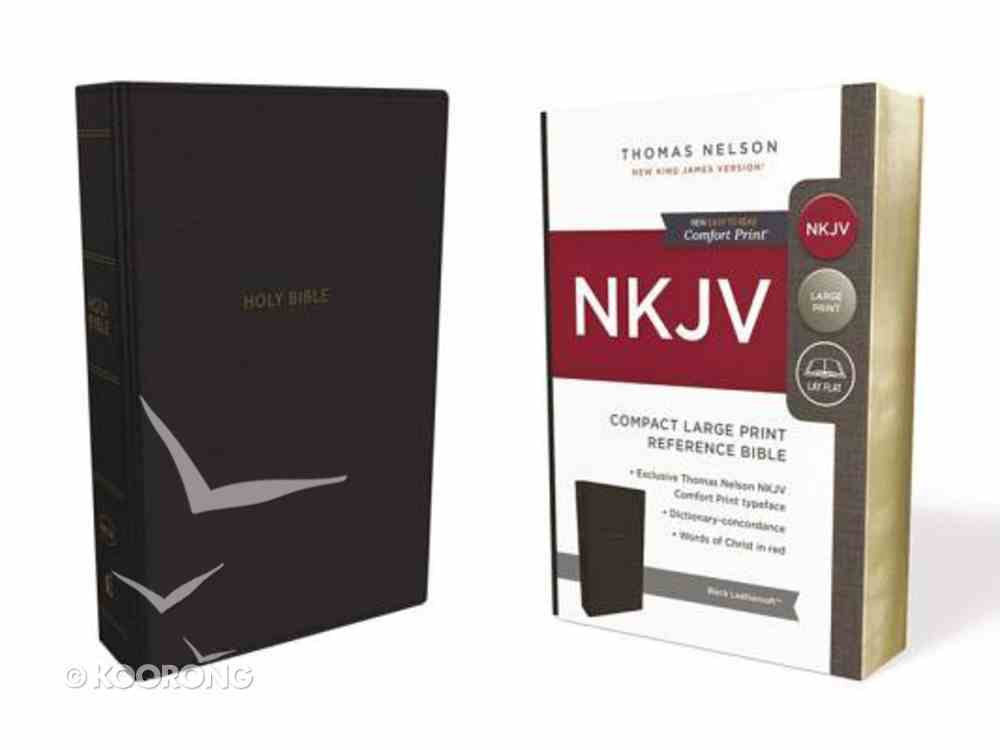 NKJV Reference Bible Compact Large Print Black (Red Letter Edition) Premium Imitation Leather