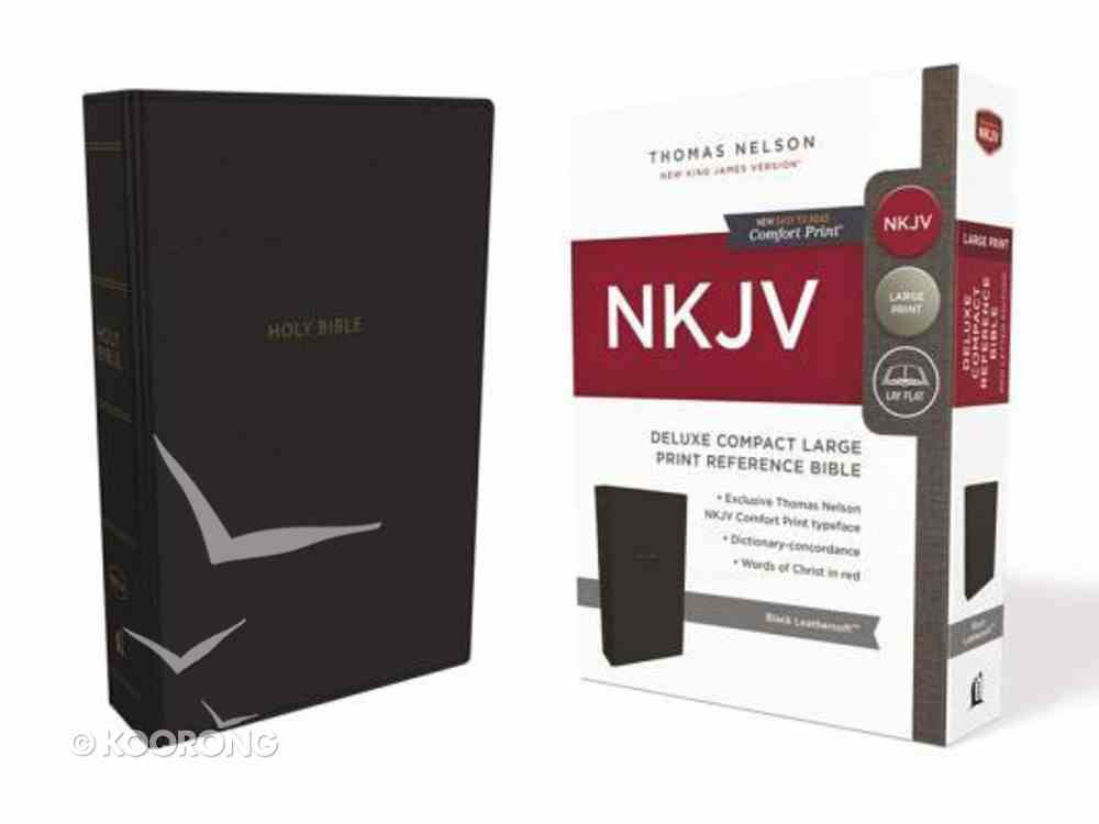 NKJV Deluxe Reference Bible Compact Large Print Black (Red Letter Edition) Premium Imitation Leather