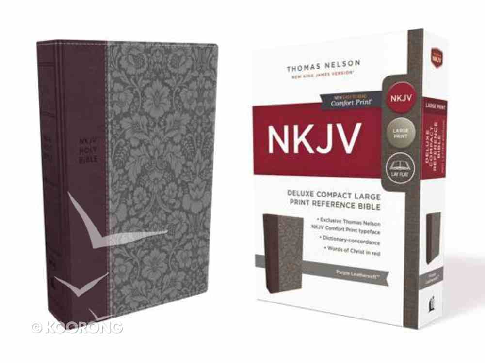 NKJV Deluxe Reference Bible Compact Large Print Purple (Red Letter Edition) Premium Imitation Leather