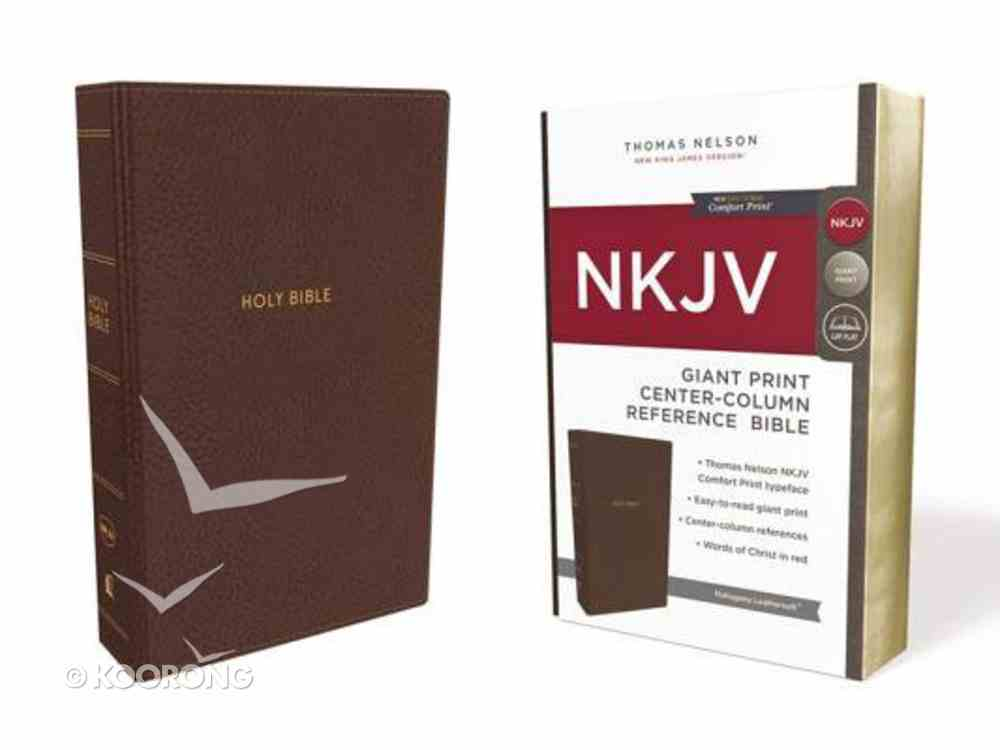 NKJV Reference Bible Giant Print Brown (Red Letter Edition) Premium Imitation Leather