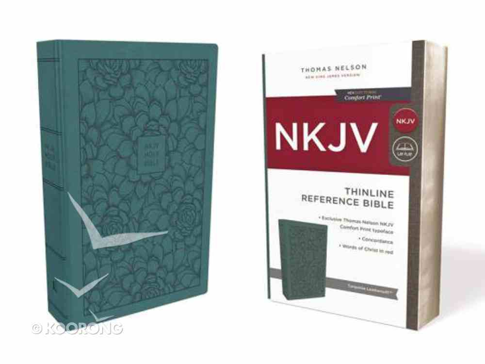 NKJV Thinline Reference Bible Turquoise (Red Letter Edition) Premium Imitation Leather