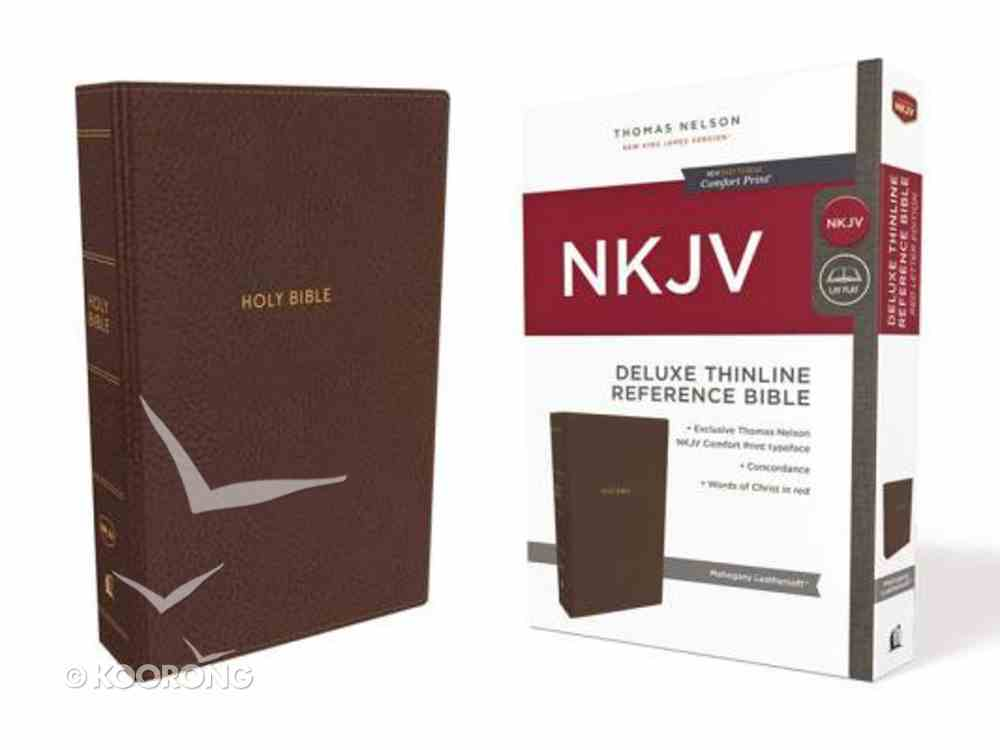 NKJV Deluxe Thinline Reference Bible Brown (Red Letter Edition) Premium Imitation Leather