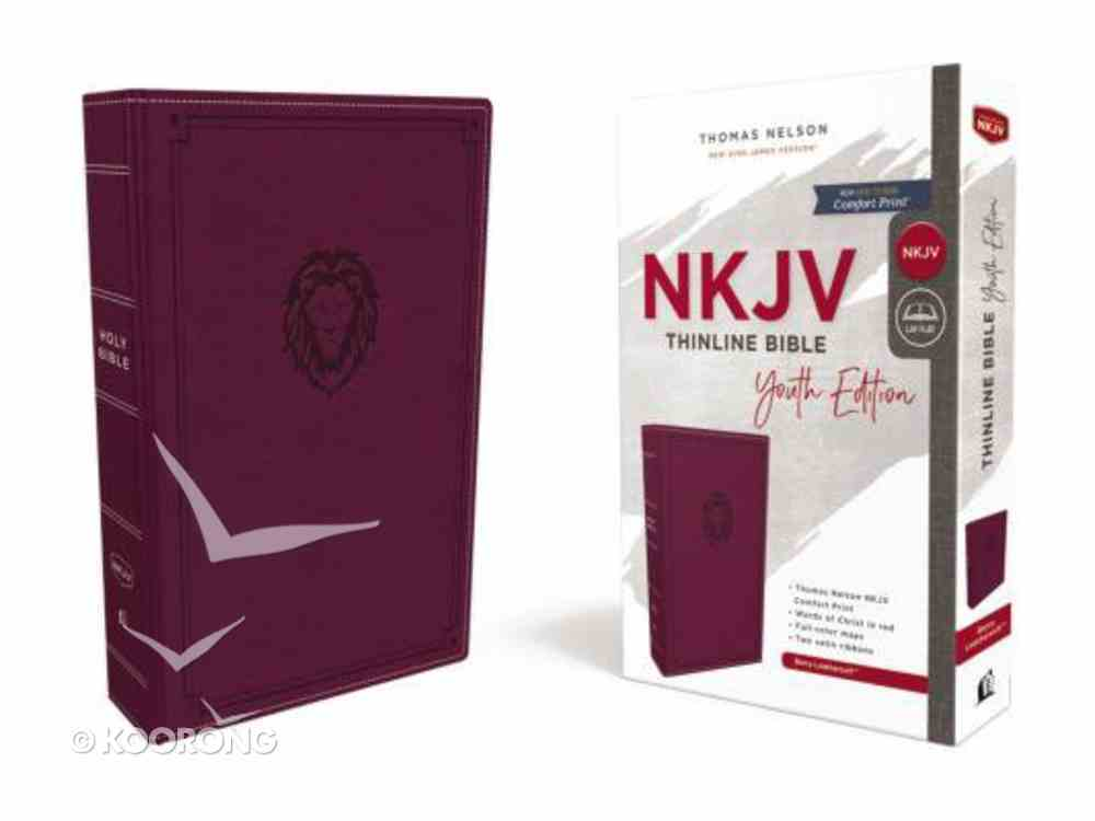 NKJV Thinline Bible Youth Edition Burgundy (Red Letter Edition) Premium Imitation Leather