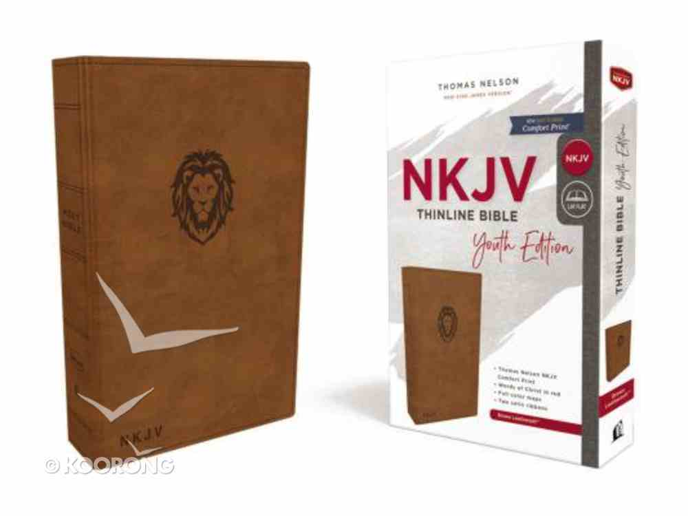 NKJV Thinline Bible Youth Edition Brown (Red Letter Edition) Premium Imitation Leather