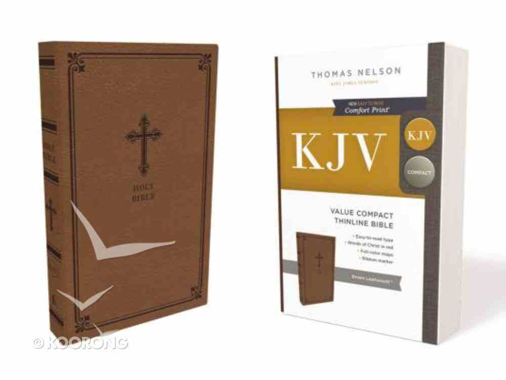 KJV Value Thinline Bible Compact Brown (Red Letter Edition) Premium Imitation Leather