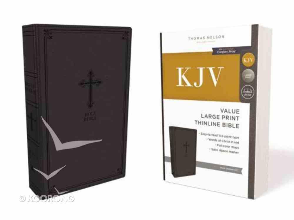 KJV Value Thinline Bible Large Print Black (Red Letter Edition) Premium Imitation Leather