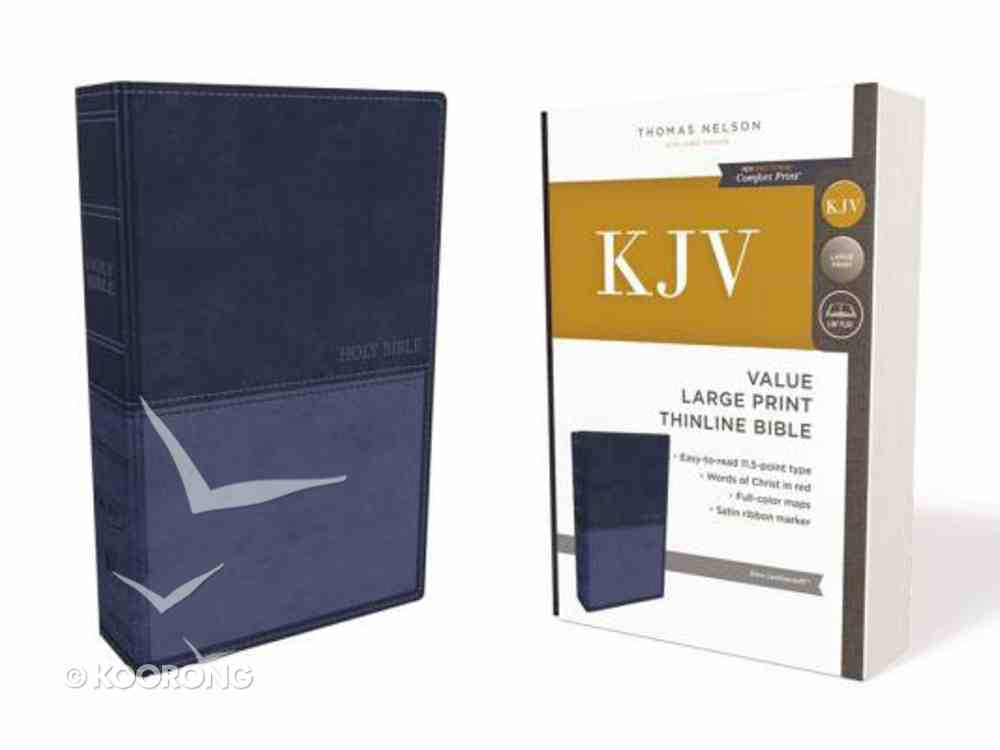 KJV Value Thinline Bible Large Print Blue (Red Letter Edition) Premium Imitation Leather