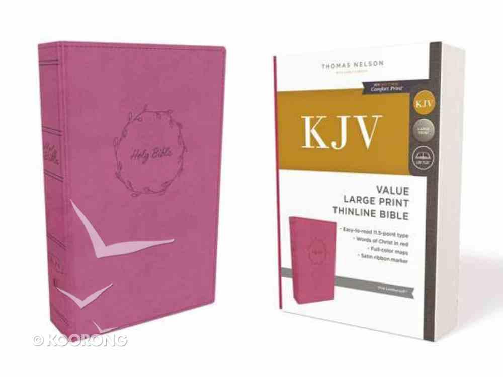 KJV Value Thinline Bible Large Print Pink (Red Letter Edition) Premium Imitation Leather